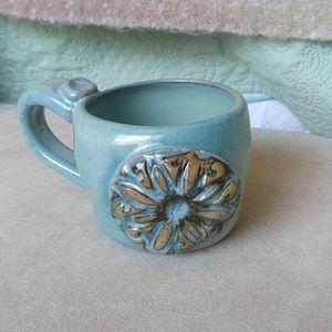 Heavy blue pottery mug